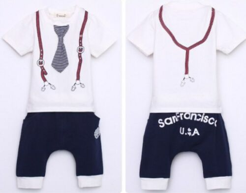 12//18M , 18//24M /& 2//3Y left Boys short sleeve fashion tie suits summer sets