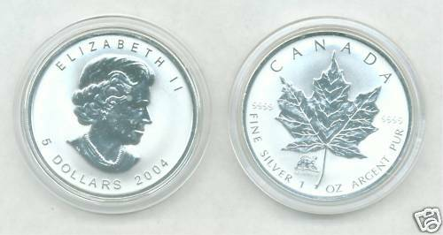 1 Oz Coin With COA 2004 Uncirculated MONKEY PRIVY MARK SILVER MAPLE LEAF