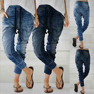 Women Casual Denim Jogger Pants Ladies Elastic Waist Jeans Solid Trouser Legging