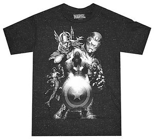 Marvel-Avengers-Black-White-Image-Black-Speckled-Men-039-s-T-Shirt-New