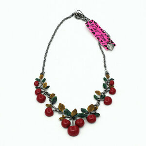 Betsey-Johnson-Women-039-s-Fashion-Red-Resin-Cherry-Pendant-Chain-Bib-Necklace-Gift