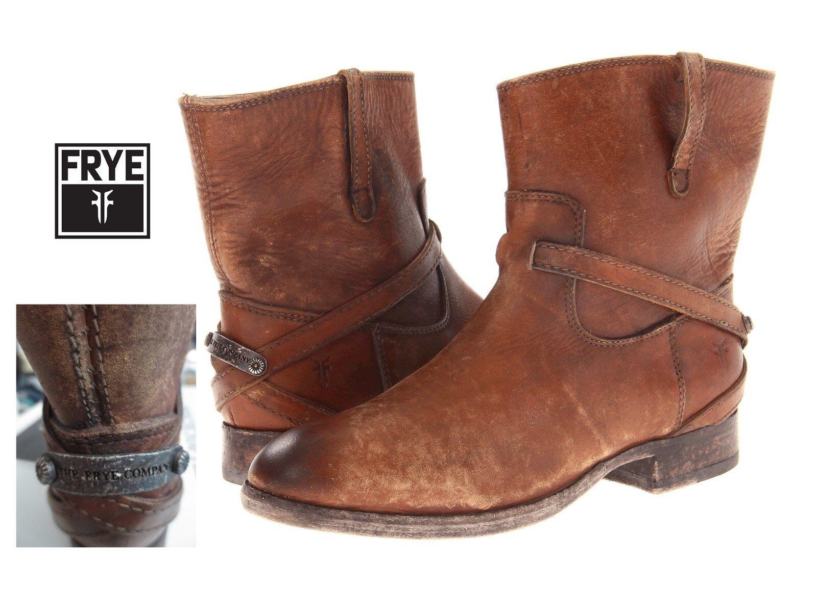 Frye Women's 6.5 med Cognac Brown Lindsay Plate Short leather boots, NIB
