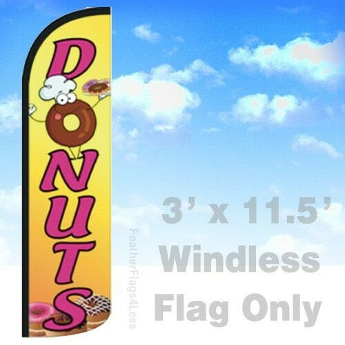 DONUTS yq Windless Swooper Flag Feather Banner Sign 3x11.5