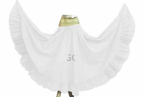 White Cotton Gypsy Flamenco Skirt 12 Yard Belly Dance Tribal Costume Jupe Boho