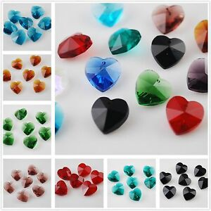 10pcs-10X5mm-Heart-Faceted-Glass-Crystal-Jewelry-Finding-Pendant-Loose-Beads-Lot