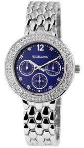 Excellanc Damenuhr Blau Silber Strass Chrono-Look Analog Metall X152323000010