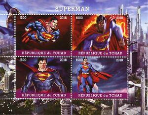 Suivi Des Vols Tchad 2018 Cto Superman 4 V M/s Super-héros Dc Comics Timbres-afficher Le Titre D'origine Surface LustréE