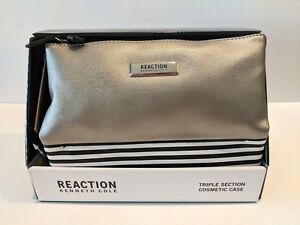 Kenneth-Cole-REACTION-Triple-Section-Cosmetic-Case-Makeup-Bag-Silver-Quarter