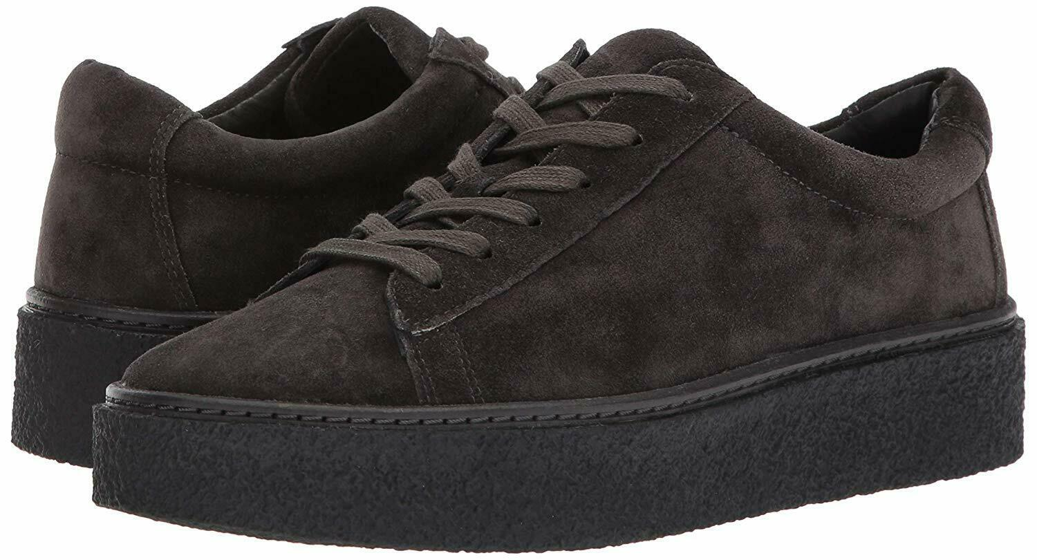 295 NEW VINCE Sz7US NEELA SUEDE LEATHER LACE-UP PLATFORM SNEAKERS PEWTER SUED