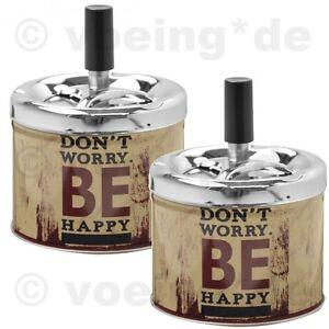 Don't Worry Be Happy 2x Drehaschenbecher Dreh-aschenbecher Drehfunktion Motiv