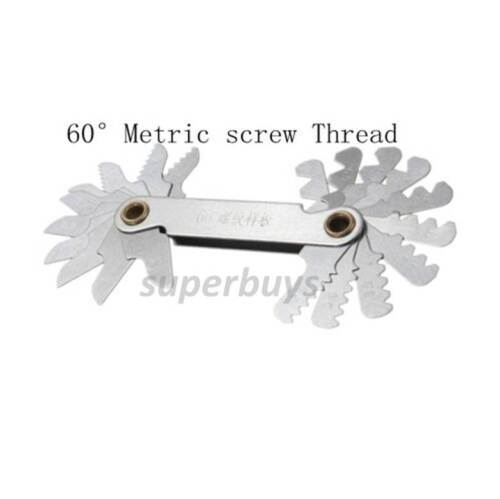 60° Metric 20 Blade Thread Pitch Gauge Measure Range Screw Degrees Measurement