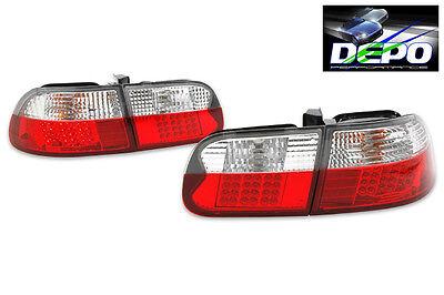 1992-1995 EG Honda Civic 3D DR LED Red Clear Tail Light Hatchback DEPO