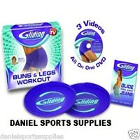 Exercise Gliding Discs Complete Set Dvd & Gliders Bums-thighs Legs Home Workout