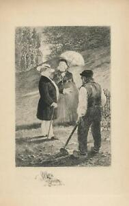 ANTIQUE VICTORIAN MAN CANE WOMAN PARASOL GARDEN GARDENER HOE TREES ETCHING PRINT