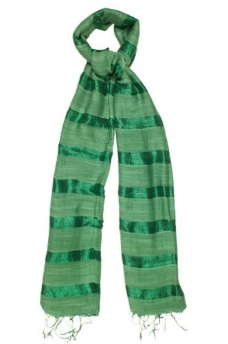 Apple Green Silk and Linen Stripe Scarf Fair Trade BNWT 180cm x 80cm