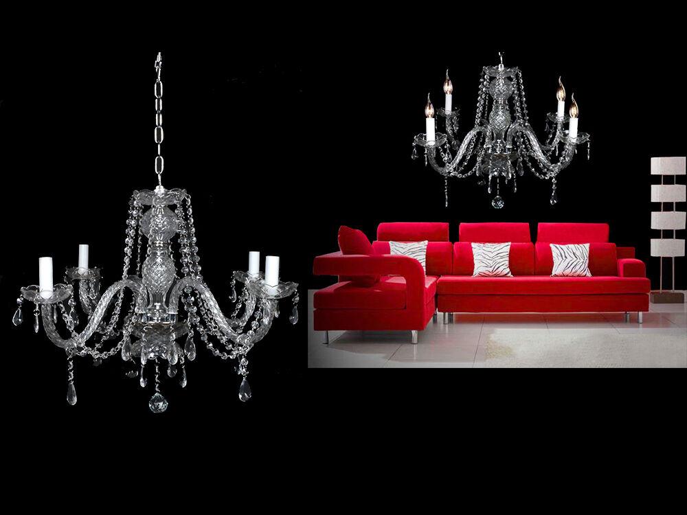 4 Lights Clear Crystal Chandelier Lighting Fixture Pendant Ceiling Lamp Lighting