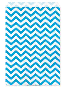 "100 Flat Merchandise Paper Bags: 6x9"",Bright Light Blue Chevron Stripes on White"