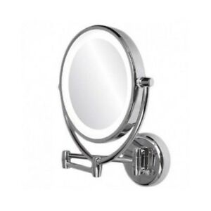 Lighted Makeup Vanity Mirror Led Wall Mount Dual Sided 10x Magnify Chrome Bath eBay