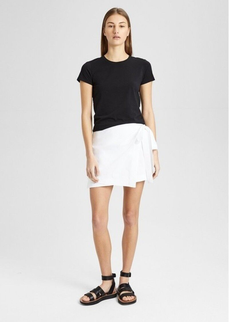 Theory Stretch Cotton Wrap-Tie Rock, Weiß, Größe 00
