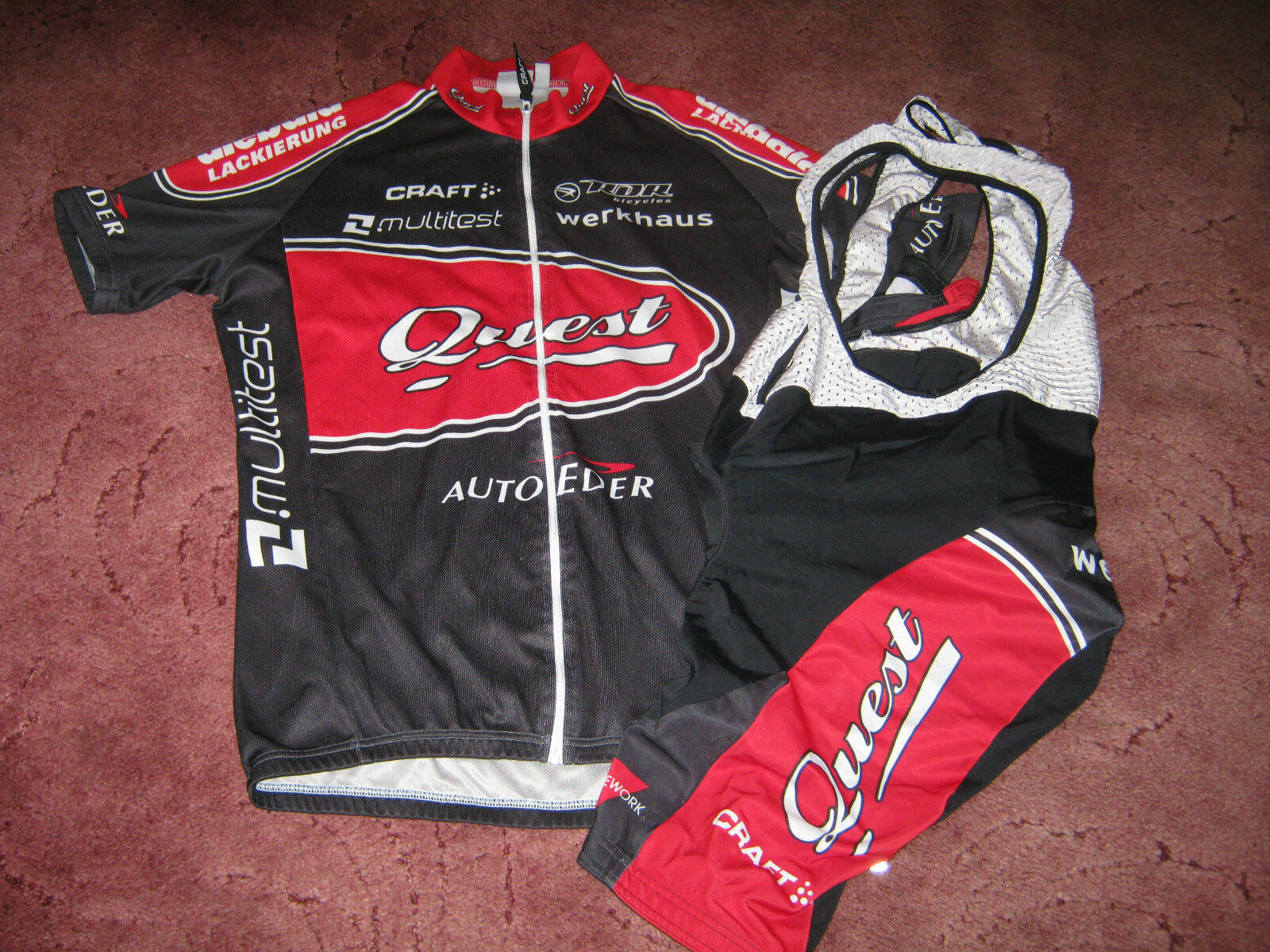 QUEST RALPH DENK RACING STORE GERMANY CRAFT CYCLING JERSEY & BIB SHORTS [L]