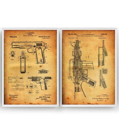 Set Of 2 Gun Patent Prints Poster Wall Art Military Decor Gift Unframed