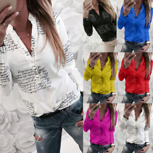Pulsante-Donna-Floral-Loose-Tee-Magliette-TopS-Signore-Long-Sleeve-Camicetta