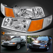 98 02 Mercury Grand Marquis Crystal Headlights Clear Corner Signal Lights 4pc