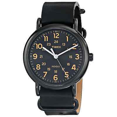 Timex T2P494, Men's Weekender Black Leather Watch, Indiglo, T2P4949J