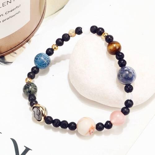 Chic Universe Solar System Galaxy Nine Planet Stone Braided Bracelet Gift Unisex