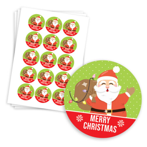 MERRY CHRISTMAS party stickers different sizes SANTA christmas stickers