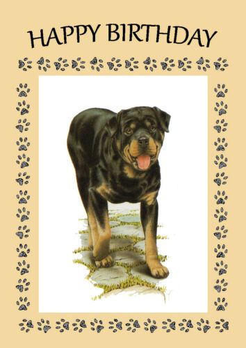 ROTTWEILER DOG GREAT DOG BIRTHDAY GREETINGS NOTE CARD