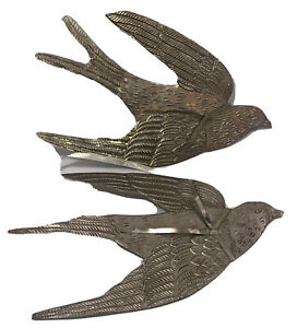 Pair-of-Dove-Christmas-Ornaments-2-Embossed-Tin-Flying-Birds-11-x-6-ea-Preown