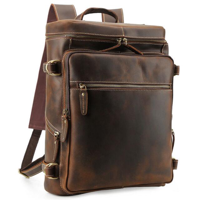 """Vintage Leather Backpack Men Travel 16/"""" Laptop Satchel Daypack Book School Bag"""