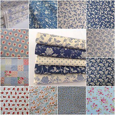 Blue Florals Spots Plain & Stripe 100% Cotton Fabric, FQ, 1/2 & metres uk seller
