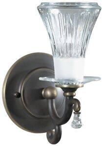 Small-Bronze-Wall-Sconce-w-Cut-Glass-Shade-Uplight-Vintage-Antique-Style-8-5-034-H