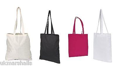 3 PACK TOTE SHOPPER BAGs - 100% COTTON 4 COLOURS REUSABLE COTTON TOTES