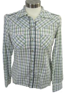 Heritage 1981 Women Top Western shirt sz M pearl snaps plaid cotton long sleeve