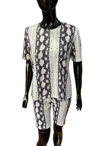 Ladies Womens Snake Print Cycling Short 2 piece Co ord Gym Set Tracksuit New UK