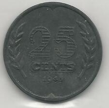 NETHERLANDS, 1943, 25 CENTS, ZINC, KM#174 ( Y-52 ), ALMOST UNCIRCULATED