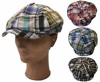 100% Cotton Applejack 6 Panel Newsboy Cabbie Driving Plaid Cap Hat