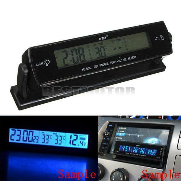 LCD Digital Car Voltage Monitor Battery Alarm Clock Temperature Thermometer 12V