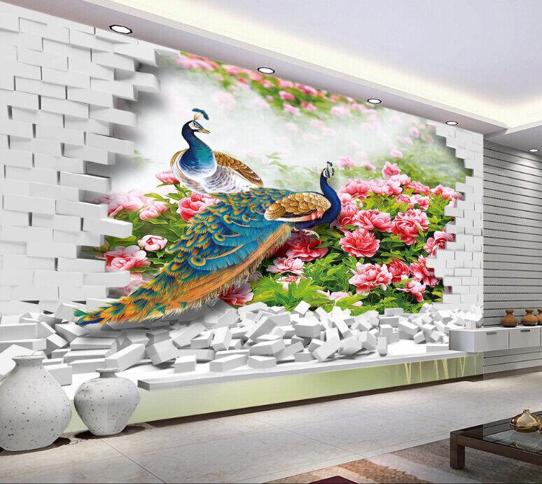 3D Pfauengartenziegel 59 Tapete Tapeten Mauer Foto Familie Tapete Wandgemälde DE