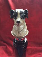 Stunning Bombay Black&white Enameled Dog W/ Jewels Wine Bottle Stopper Cork