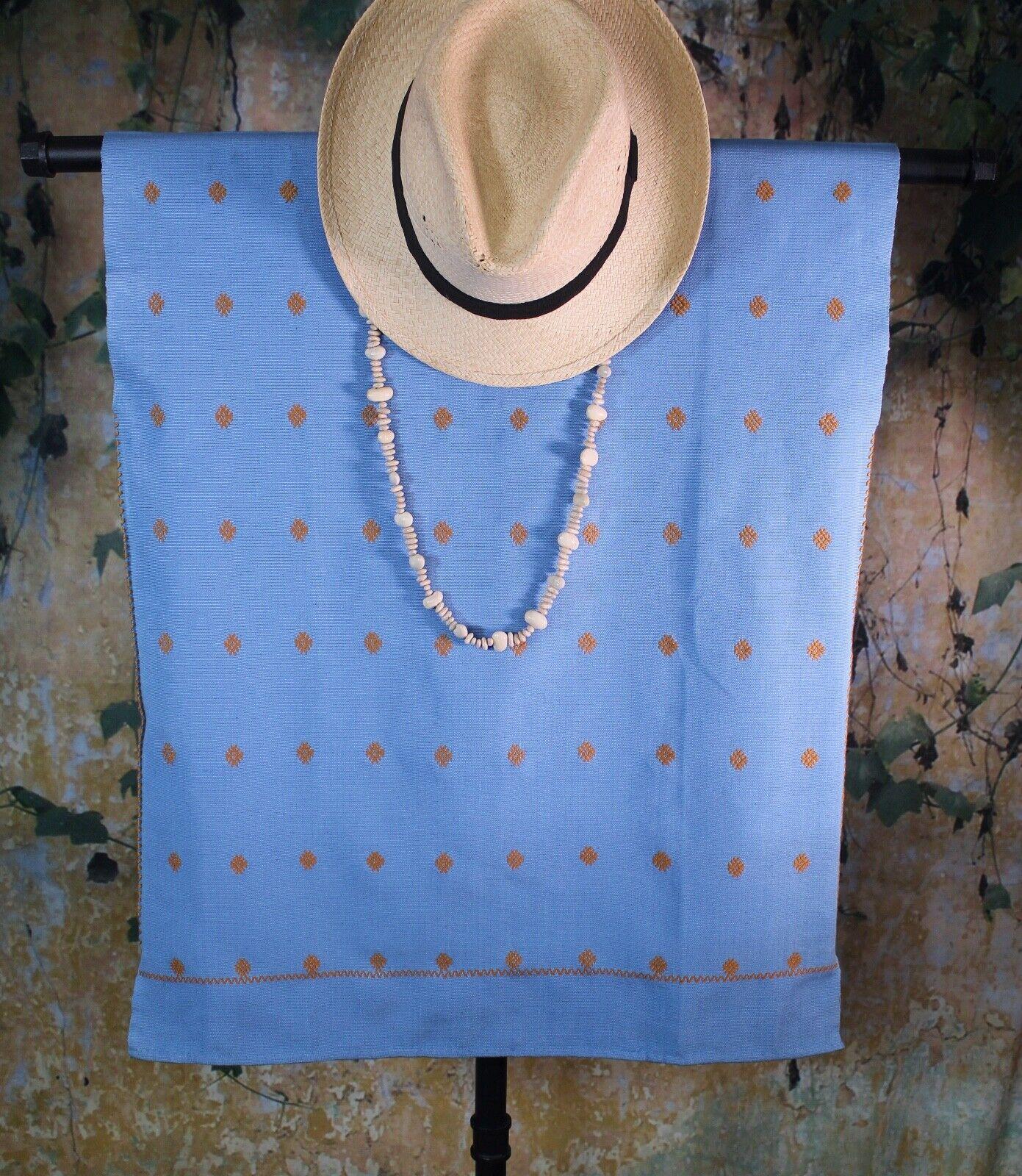 Huipil Handwoven Backstrap Loom Blue & Gold Larrainzar Mayan Chiapas Mexico Boho