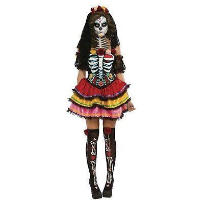 Womens Gothic Halloween Day of the Dead Senorita Zombie Costume - 8,10,12,14,16