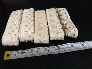 Job lot 4 Bundles Beige Cotton Crochet Lace 4 Metres Different Widths