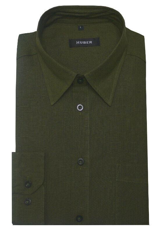 HUBER Leinen Hemd olive green Langarm Jagd Forst Kentkragen HU-90057 Regular Fit