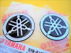 Yamaha Tuning Fork Stickers Decals 45mm GOLD FZ FJ RD YZ x 2