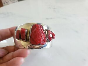 Signed-D-039-CC-039-S-Red-Coral-Carved-Fish-Sterling-Silver-925-Cuff-Bracelet-Mexico