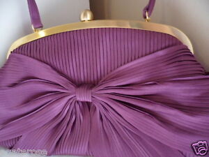 PURPLE-and-GOLD-OLGA-BERG-EVENING-RIBBED-SATIN-RIBBON-CLUTCH-BAG-WEDDING